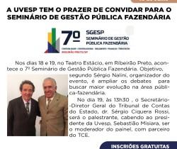 7º SGESP – SEMINÁRIO DE GESTÃO PÚBLICA FAZENDÁRIA / CONVITE UVESP