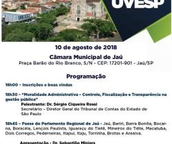 CONVITE UVESP – FORMAÇÃO PARLAMENTO REGIONAL DE JAÚ/SP